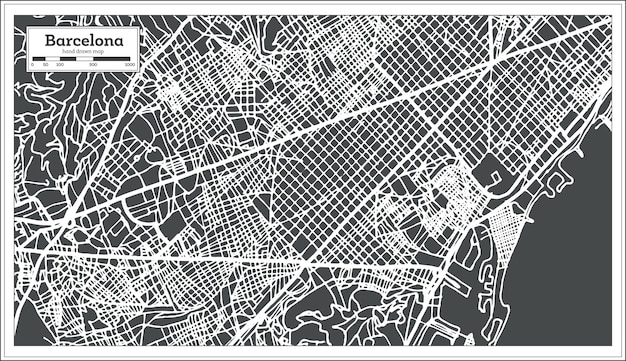 Mapa de la ciudad de barcelona españa en estilo retro. mapa de contorno. ilustración de vector.