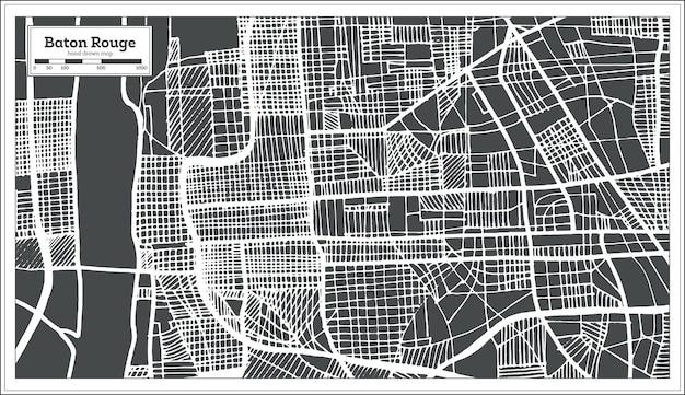 Mapa de la ciudad de baton rouge louisiana usa en estilo retro. mapa de contorno. ilustración de vector.