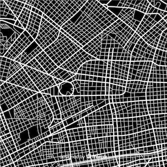 Mapa de la ciudad en blanco y negro con ruta de calles