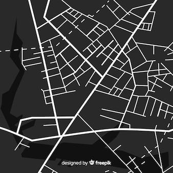 Mapa de la ciudad en blanco y negro con ruta