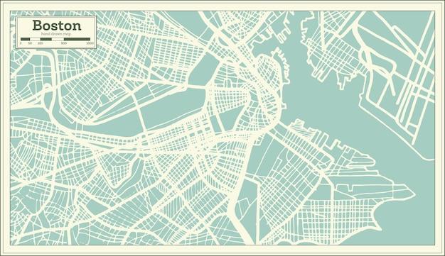 Mapa de la ciudad de boston usa en estilo retro. mapa de contorno. ilustración de vector.