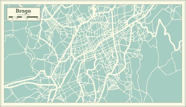 Mapa de la ciudad de braga portugal en estilo retro. mapa de contorno. ilustración de vector.