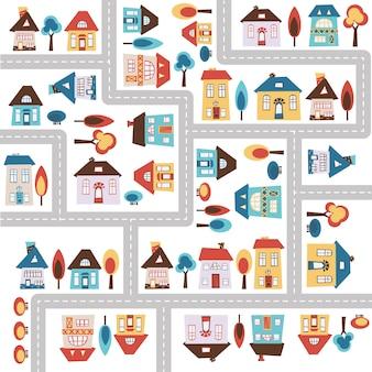 Mapa de la ciudad con carreteras, casas y árboles.
