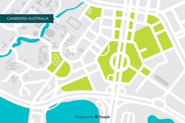 Mapa de la ciudad coloreada con río y parque