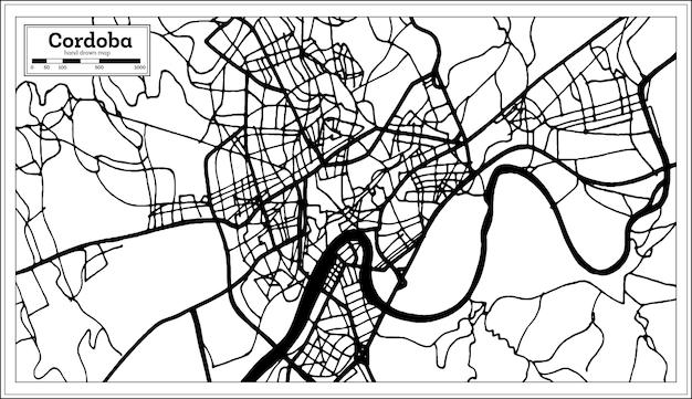 Mapa de la ciudad de córdoba españa en estilo retro. mapa de contorno. ilustración de vector.