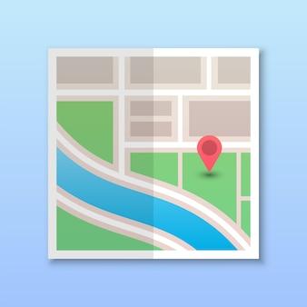 Mapa de la ciudad cuadrada con pin de navegación