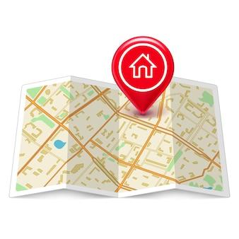 Mapa de la ciudad con etiqueta home pin