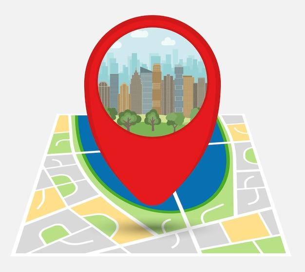Mapa de una ciudad imaginaria con punto en el mapa con rascacielos y parque. ilustración vectorial.