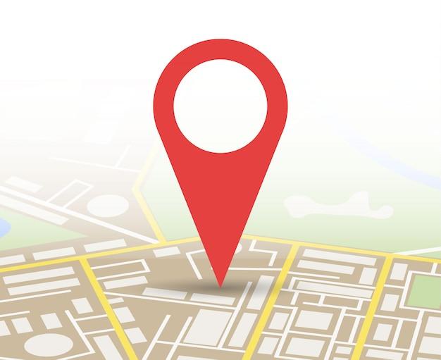Mapa de la ciudad con marcador, icono de vector