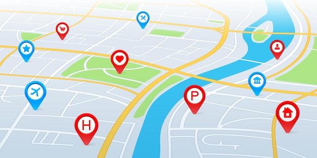 Mapa de la ciudad en perspectiva. ruta de navegación gps con punteros y pines.
