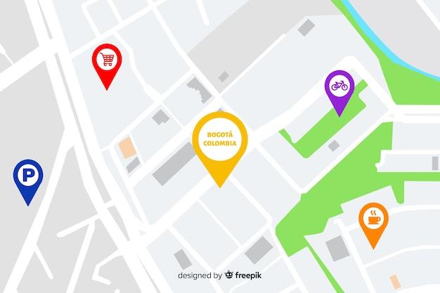 Mapa de la ciudad con puntos de navegación.