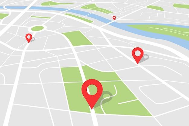 Mapa de la ciudad con ubicación, plano de la ciudad, con pin para la cartografía de ruta gps, punteros de navegación rojos de fondo