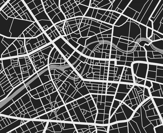 Mapa de la ciudad de viajes en blanco y negro. transporte urbano caminos vector cartografía.