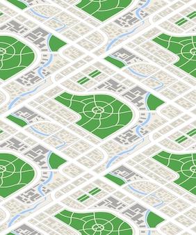 Mapa de la ciudad en vista isométrica, patrones sin fisuras