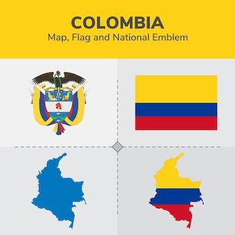 Mapa de colombia, bandera y emblema nacional