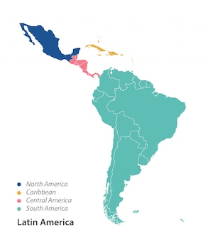 Mapa de color de américa latina.