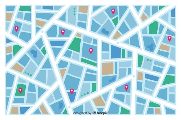 Mapa coloreado de la ciudad que indica rutas de calles