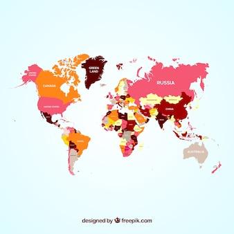 Mapa colorida del mundo