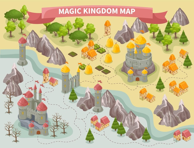 Mapa colorido isométrico del reino mágico con castillos