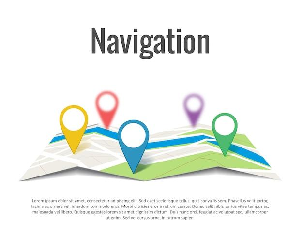 Mapa Plano Con Pin Icono De Puntero De La: Fotos Y Vectores Gratis
