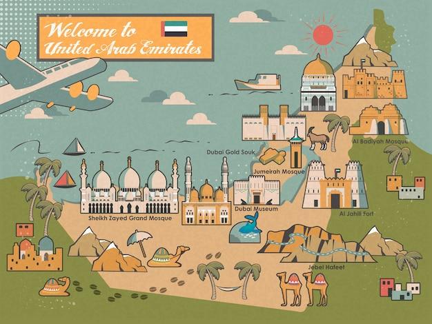 Mapa conceptual de viajes de los eau con atracciones y especialidades