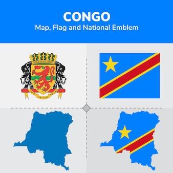 Mapa de congo, bandera y emblema nacional
