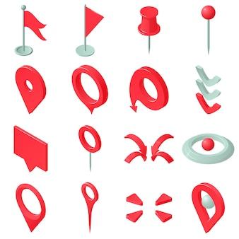 Mapa conjunto de iconos de puntero. ilustración isométrica de 16 iconos de vector de puntero de mapa para web