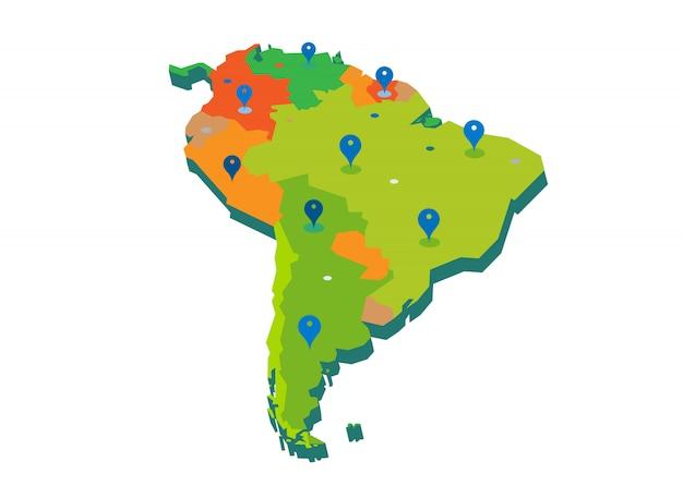 Mapa del continente 3d de américa del sur con gps pins aislado sobre fondo blanco.