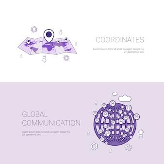Mapa de coordenadas gps y banner de plantilla de comunicación global