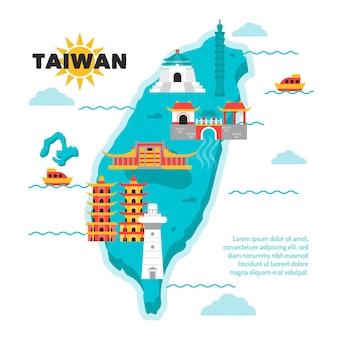 Mapa creativo de taiwán con diferentes puntos de referencia.