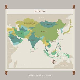 Mapa de asia en tonos verdes