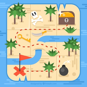 Mapa de isla del tesoro en diseño plano