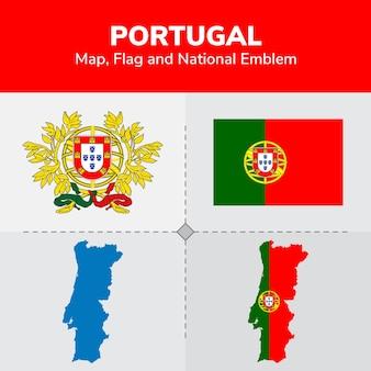 Mapa de portugal, bandera y emblema nacional