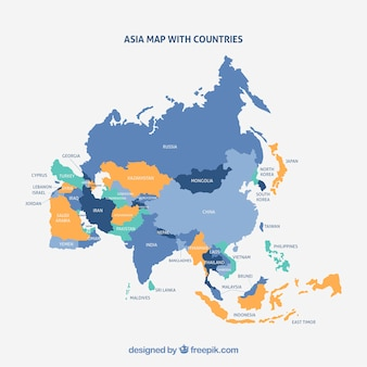 Mapa del continente de asia con diferentes colores