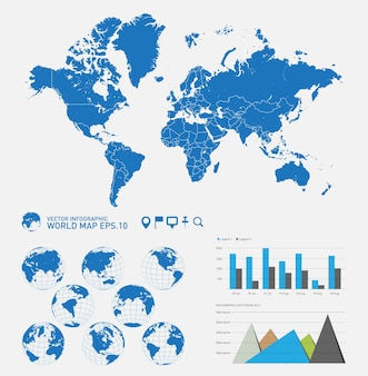 Mapa del mundo con globos de tierra