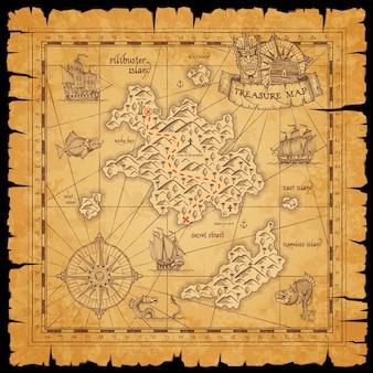 Mapa de desplazamiento del tesoro pirata con mar, islas filibusteras y barcos