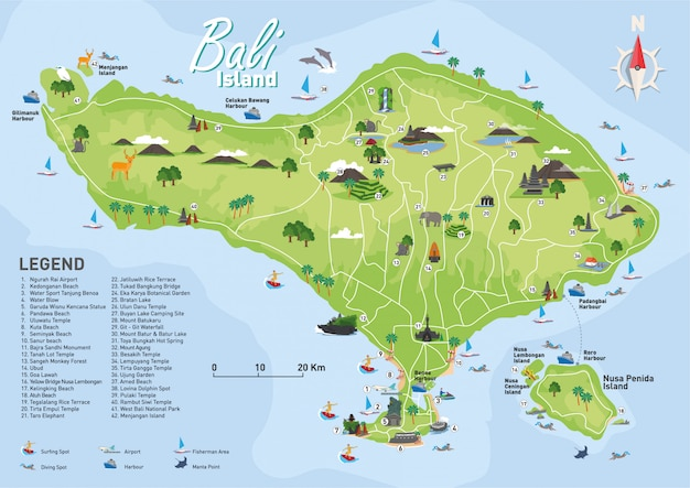Mapa de destino turístico de bali