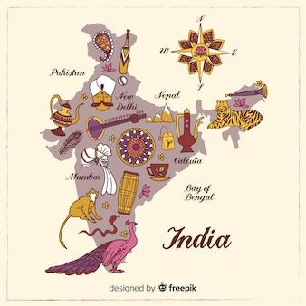 Mapa dibujado a mano de la india