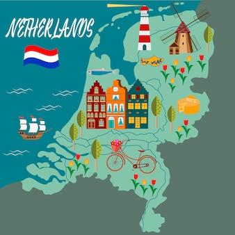 Mapa de dibujos animados de holanda