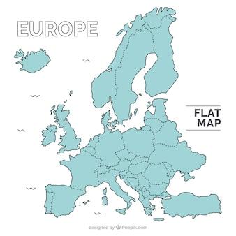 Mapa con diseño plano de europa