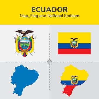 Mapa de ecuador, bandera y emblema nacional