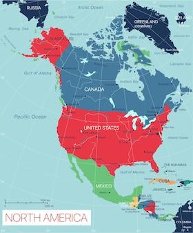Mapa editable detallado de américa del norte con ciudades y pueblos