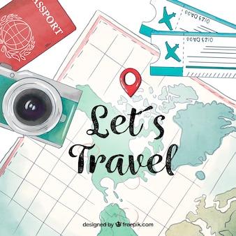 Mapa con elementos de viaje en acuarela