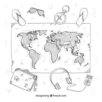 Mapa con elementos de viaje dibujado a mano