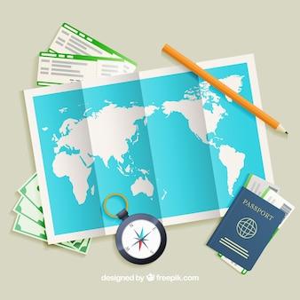 Mapa con elementos de viaje con estilo realista