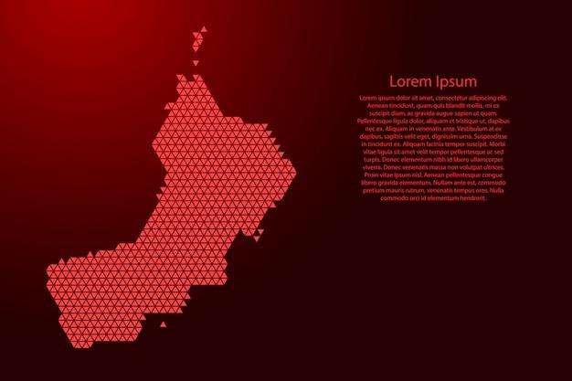 Mapa esquemático de omán hecho de triángulos rojos