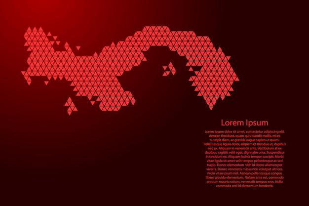 Mapa esquemático de panamá hecho de triángulos rojos
