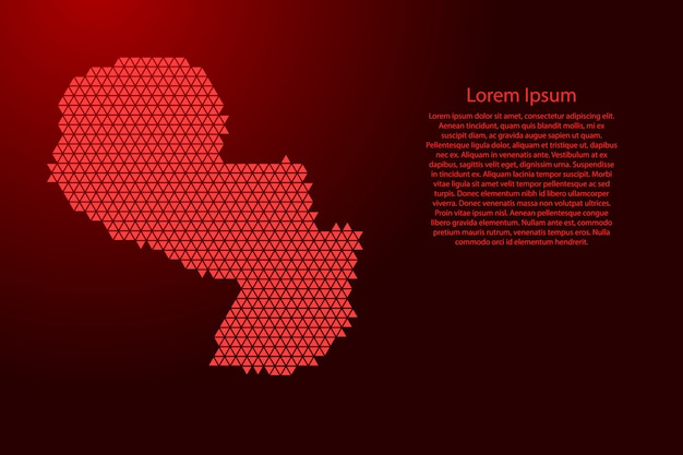Mapa esquemático de paraguay hecho de triángulos rojos