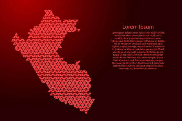 Mapa esquemático de perú hecho de triángulos rojos
