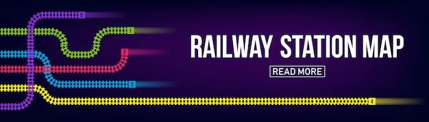 Mapa de la estación de ferrocarril, metro, infografía, fondo de banner de ferrocarril